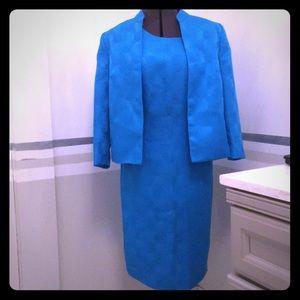 kasper dress  and Nehru collared jacket  turquoise